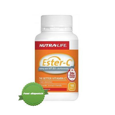 Nutralife 1000mg Ester C with Vitamin D 3 Plus Bioflavanoids 100 s
