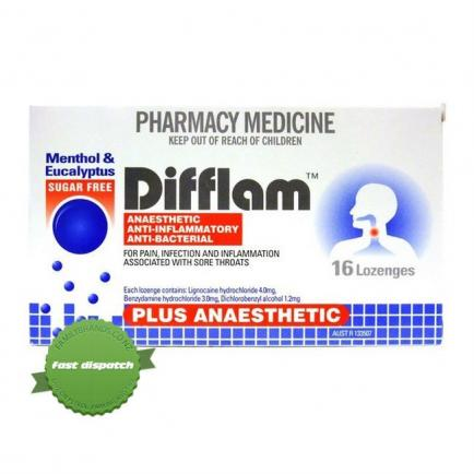 Buy Difflam Lozenges Plus Anaesthetic Eucalyptus 16 - Ships Fast